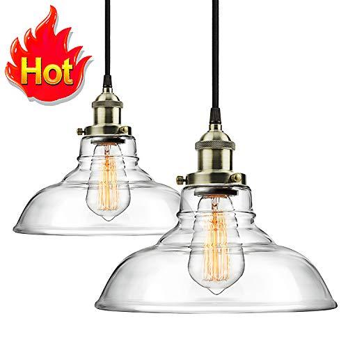 48Hours Big Sales! Pro 1-Light Industrial Edison Vintage Hanging Lamp, Height Adjustable Glass Pendant Light, Antique Brass Brushed E26 Socket, Perfect for Kitchen, Dining Room (2Packs)