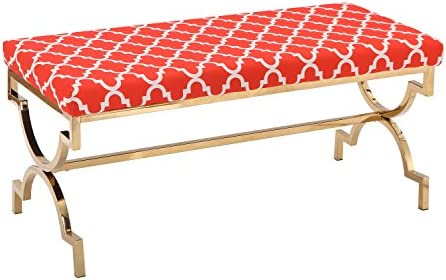 Joveco Upholstered Flax Cushion Fabric Metal Frame Ottoman Bench X Leg Red2