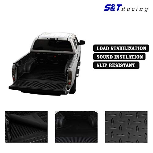 (S & T RACING INC Truck Bed Mat Compatiable with Chevy Silverado 1500 07-14   Black Finished Diamond Rubber Floor Mat Carpet Fleetside 8 Ft Long Bed )