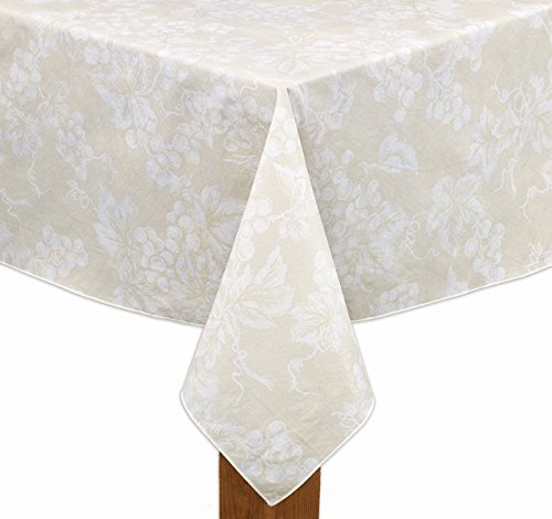 Grapevine Table - Ivory Grapevine Vinyl Tablecloth (52x52