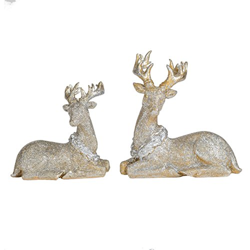 Reindeer Christmas Figurines - Gold Tone Glitter Small Sitting Reindeer 7.5 x 5.5 Resin Christmas Figurine Set of 2