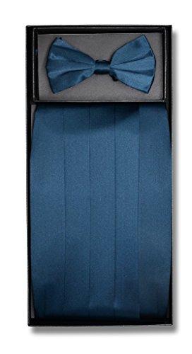 SILK Cumberbund & BowTie Solid BLUE SAPPHIRE Color Men's Cummerbund Bow Tie Set (Color Sapphire Solid)