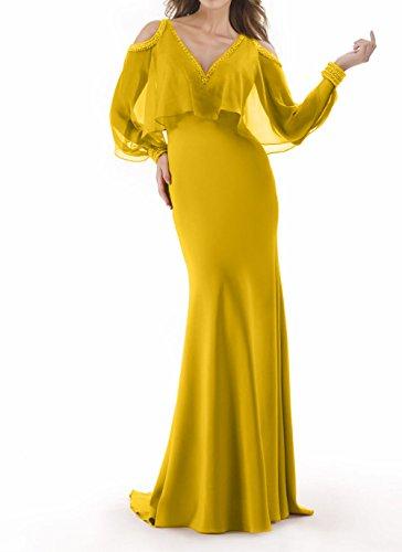 Gelb Elegant Chiffon Brautmutterkleider Damen etuikleider Abschlussballkleider Meerjungfrau Promkleider Charmant 6awxqAH