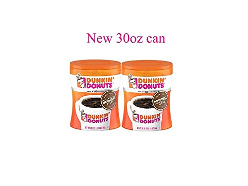 Dunkin' Donuts Original Blend Medium Roast Ground Coffee, 30 oz Can 2-Pack