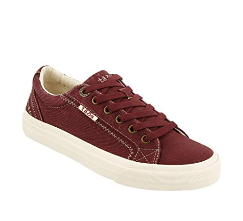 Taos Footwear Women's Plim Soul Bordeaux Distressed Sneaker 8 M US