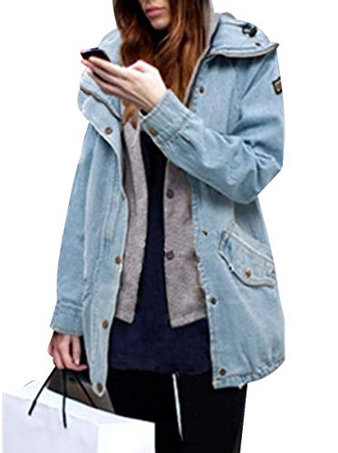 Outwear Blu Con Plus Slim Blackmyth Size In Giacca Fashion Coat Fit Denim Donna Cotone Casual Cappuccio Allentata wBzaw