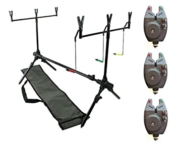 c63023d211 DD-Tackle Rod pod pour pêche à la carpe + 3 détecteurs + 2 buzz bars ...