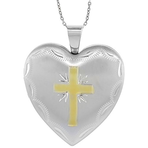Sterling Silver Heart Locket Necklace 4 Picture Gold Cross, 18 inch