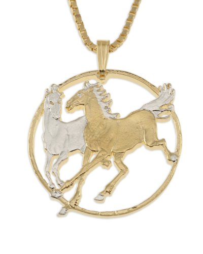 Horse Pendant & Necklace, Isle of Man Coin Hand Cut