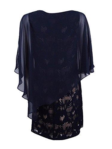 Connected Cape Cold Women's Shoulder Dress Petite Lace Blue r8nrFRA