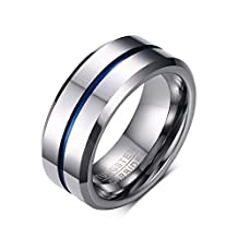 FANSING Mens Womens 8mm Tungsten Rings Blue Tone Matte Finish Brushed Center Wedding Bands Beveled Edge