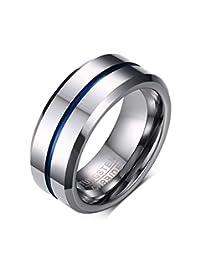 FANSING Mens Womens 8mm Tungsten Rings Blue Tone Matte Finish Brushed Center Wedding Bands Beveled Edge
