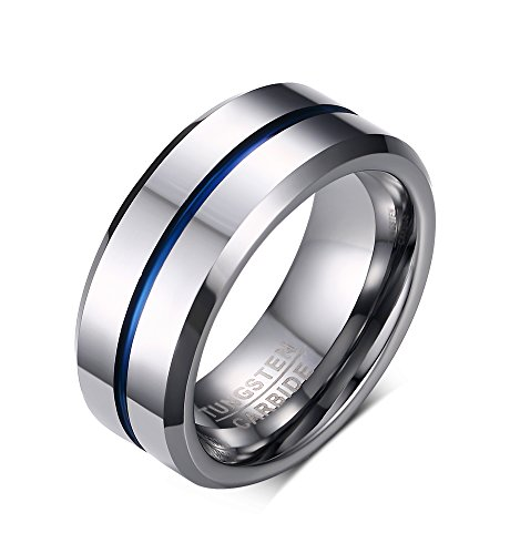 - FANSING Mens Tungsten Rings, Wedding Bands, 8mm, Blue Tone Matte Finish Brushed Center, Silver, Size 11