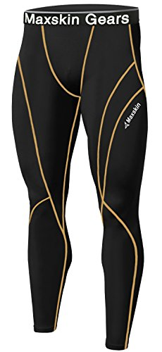 New Men Skin Tights Compression Base Under Layer Sports Running Long Pants (M, MSP002 BLACK) Sport Long Tights
