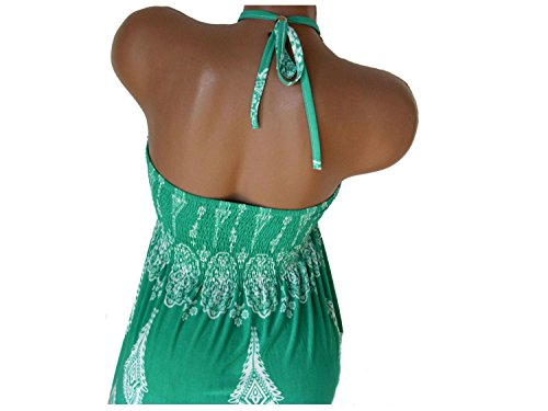 Sommerkleid, Neckholder, aus weichfließender Viskose, grün, AMDARUT F623grue
