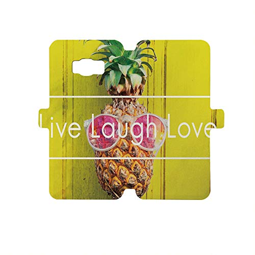 - Painted Galaxy S8 Case - Premium Protective Cover Phone Cases for Girls,Live Laugh Love Decor,Tropical Pineapple with Sunglasses on Yellow Wood Board Joyful Print Decorative,Multicolor