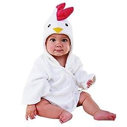 Baby Aspen, Barnyard Bathtime Chicken Hooded Spa Robe, White, 0-9 Months