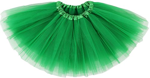 Simplicity Girl Elastic Shining Pettiskirt Layers Tulle Tutu Skirt,Sante Green (Two Type Of Girls On Halloween)