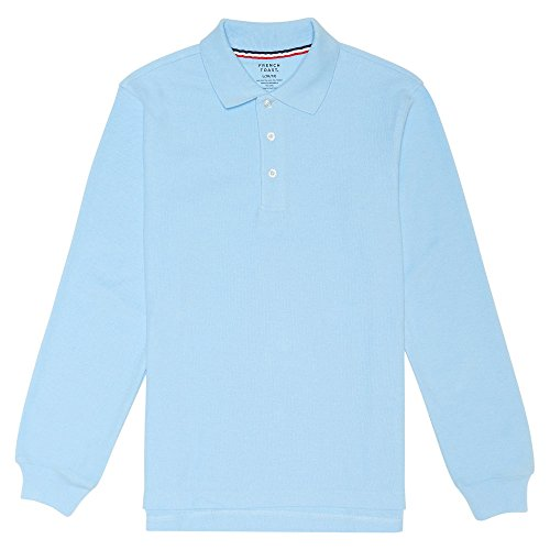 - French Toast Little Boys' Long-Sleeve Pique Polo Shirt, Light Blue, Small/6-7