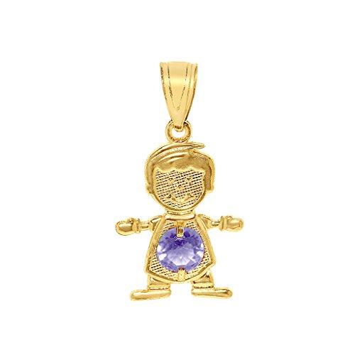 Lavender Cubic Zirconia Star (Precious Stars Jewelry 14k Yellow Gold Round-Cut Cubic Zirconia June Birthstone Boy/Son Pendant)
