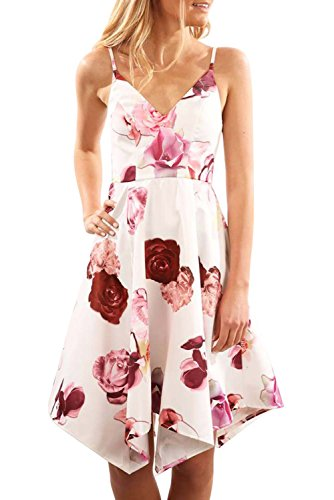 Angerella Women's Cocktail Dress Floral Printed V Neck Party