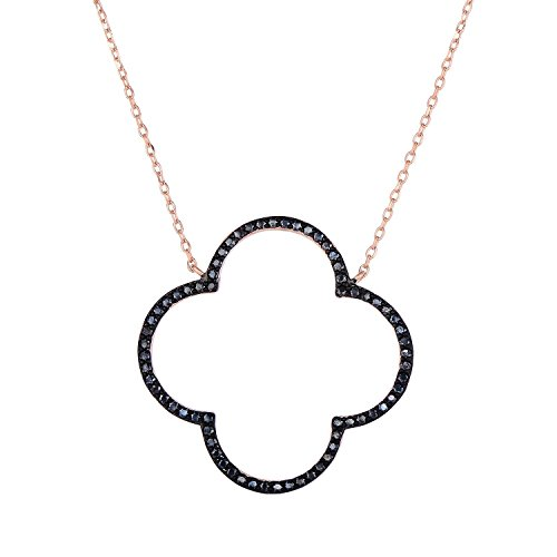 Unique Royal Jewelry Sterling Silver Open Four Leaf Clover Black Onyx Necklace with Adjustable Length. (14K Rose Gold Plated)