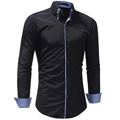 Ximandi Men's Autumn Casual Slim Fit Long Sleeve Polyester Turn-Down Collar Shirt by Ximandi