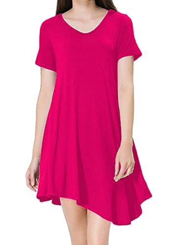 Jaycargogo Été À Manches Courtes Femmes Casual Robe T-shirt Loose Rose Rouge
