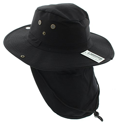 JFH GROUP Wide Brim Unisex Safari/Outback Summer Hat w/Neck Flap (Small, Black Solid)