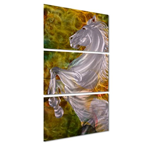 Pure Art Mighty Stallion Metal Wall Artwork Sculpture for Kitchen and Living (Nuevo Living Cross)