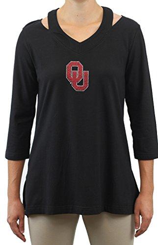 Nitro USA NCAA Oklahoma Sooners Women's Cut Out Neckline Tunic with Rhinestone & Metallic OU Logo, 1X, Black