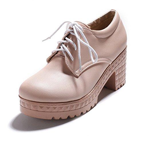 Heels Shoes Womens Bandage Pink Platform Urethane Oxfords Chunky BalaMasa fn1aa