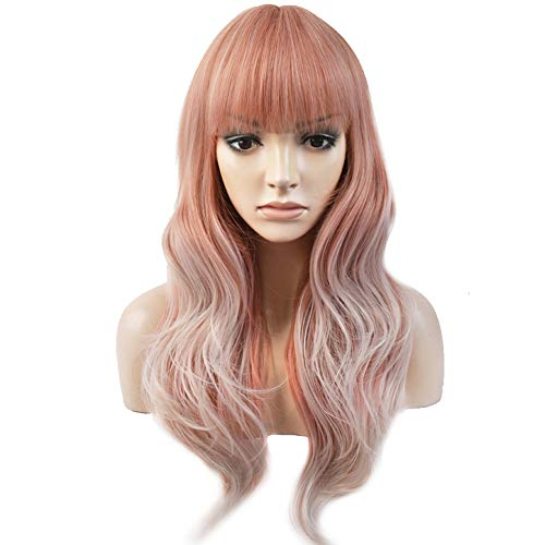 BERON Long Wavy Soft Synthetic Wig with Straight Bangs for Women Girls Wig Cap Included (Pink/Silvery White)