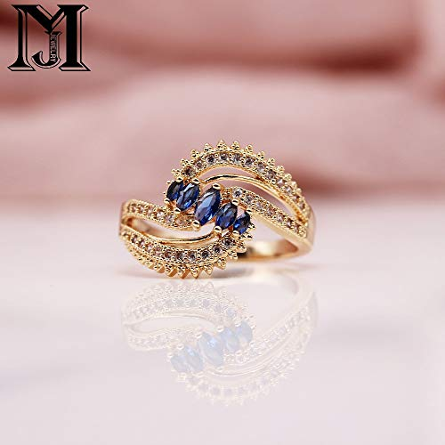 New 585 Rose Gold Micro-Wax Inlay Pomegranate Blue Horse Eye Natural Zircon Rings Women Wedding Party Fine Unique Jewelry
