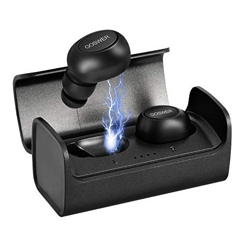 Wireless Earphones Goswer Bluetooth Headphone Mini Dual Earbuds Stereo Sound Waterproof Sport Earphones with Mic 400mAh portable Charging Box for iPhone iPad Samsung Huawei Honor Nokia etc Smartphone