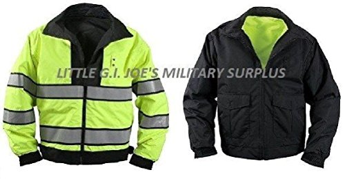 Small Black & Yellow Reversible Hi-Visibility Safety Waterproof Jacket ()