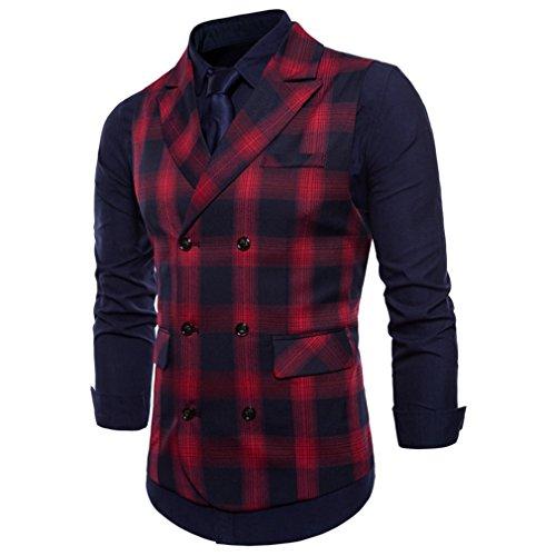 Cotone Business Slim Vest Fangcheng Cardigan In Rosso Plaid Classico Da Stile Gilet Britannico Suit Uomo qPOq0x7w