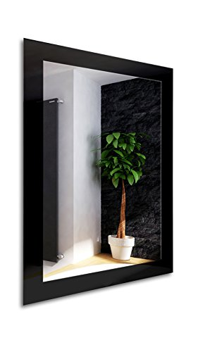 Glass Color Gloss Modern Framed Rectangle Wall Mirror 31.inch X 23.inch (Deep Black)