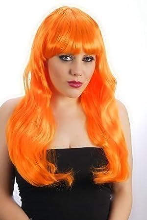 Peluca naranja de pelo largo con flequillo para disfraz
