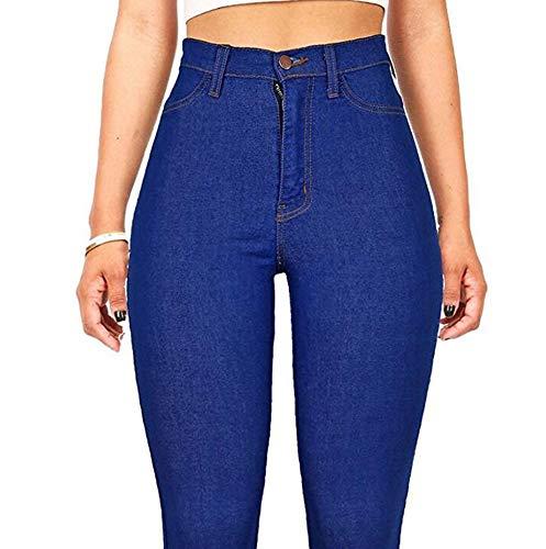 Azul Hibasing de Mezclilla Flacos Mujeres Cintura Pantalones Alta 8qrp08