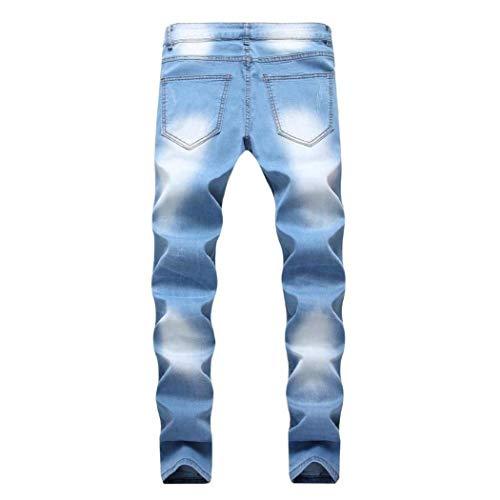 Hellblau Distrutti Casual Outdoor Pantaloni Di Skinny Jeans Stretch Mode Fit Cargo Ragazzi Uomo Marca Slim 1wAq6p