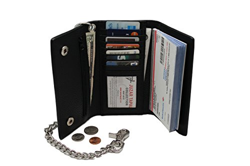R.F.I.D Bikers's Cow Leather Long Checkbook Tri-fold Steel Chain Wallet Zipper Pocket