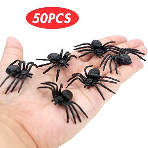 VGOODALL Halloween Spinnen, 50 Stück Realistische Spinne Spider Spielfiguren Halloween Party Dekrotion Tischdeko