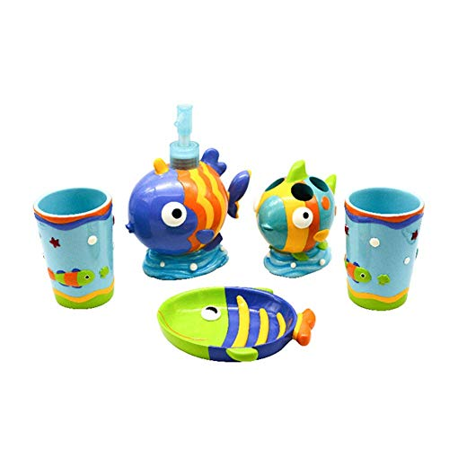 (YOURNELO Kid's Cartoon Cute Animals Fish Duck Octopus Resin Bathroom Accessories Set for Housewarming Wedding Gift Soap Dispenser Soap Dish Toothbrush Holder Tumbler Cups (Tropical Fish))