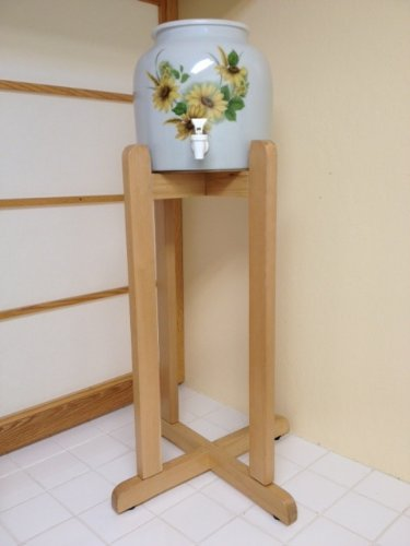(Solid Wood Floor Stand and Ceramic Crock Dispenser- Little Daisy)
