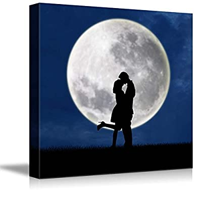 Canvas Prints Wall Art - Romantic Silhouette of Couple Kissing Under Full Moon | Modern Wall Decor/Home Decoration Stretched Gallery Canvas Wrap Giclee Print & Ready to Hang - 24