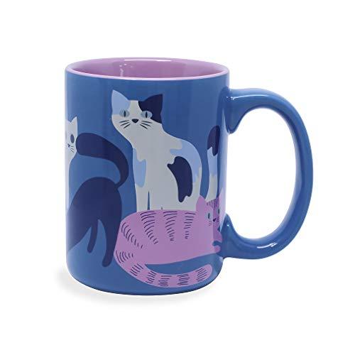 Wild Eye Designs Kitty Cat Family Blue 16 Ounce Glazed Ceramic Lilac Purple Interior Coffee Mug in Gift Box