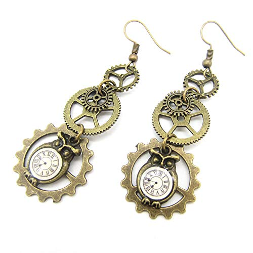 Original Design Owl Clock Drop and Multi Gears Vintage Steampunk Earring Female`s Accessory,Antique Bronze Plated