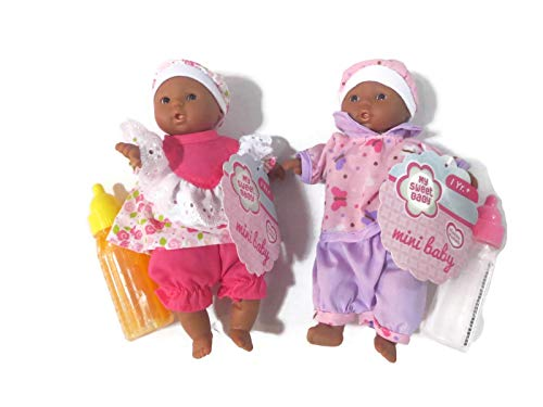 Toysmith Baby Dolls 2 Mini Baby Dolls African American(Outfits Will Vary from Picture) Plus Disappearing Milk + Juice Baby Doll Bottles Ages 3yrs +