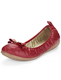 Allegra K Women's Quilted Bow Decor Ballet Flats